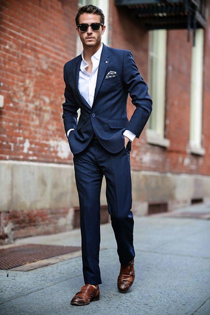 Коричневая обувь и синий деловой костюм. Итальянцы - пожалуй, самый неравнодушный к подобному сочетанию народ