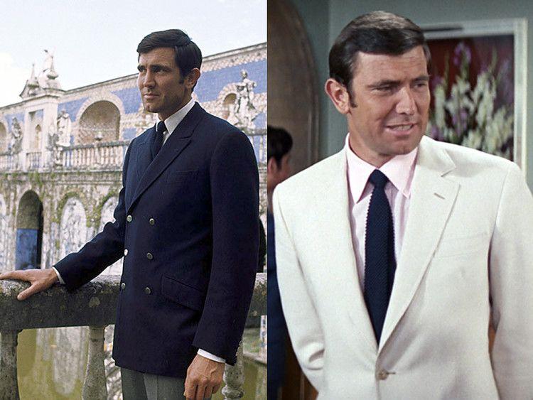 Джордж Лэзенби в образе Джеймса Бонда - слева в темно-синем двубортном пиджаке и серых брюках, справа в классическом белом костюме с галстуком