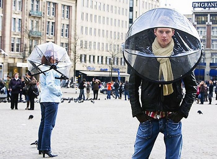 А такой зонт заинтересует тех мужчин и женщин, которые ежедневно тратят время на укладку своих волос