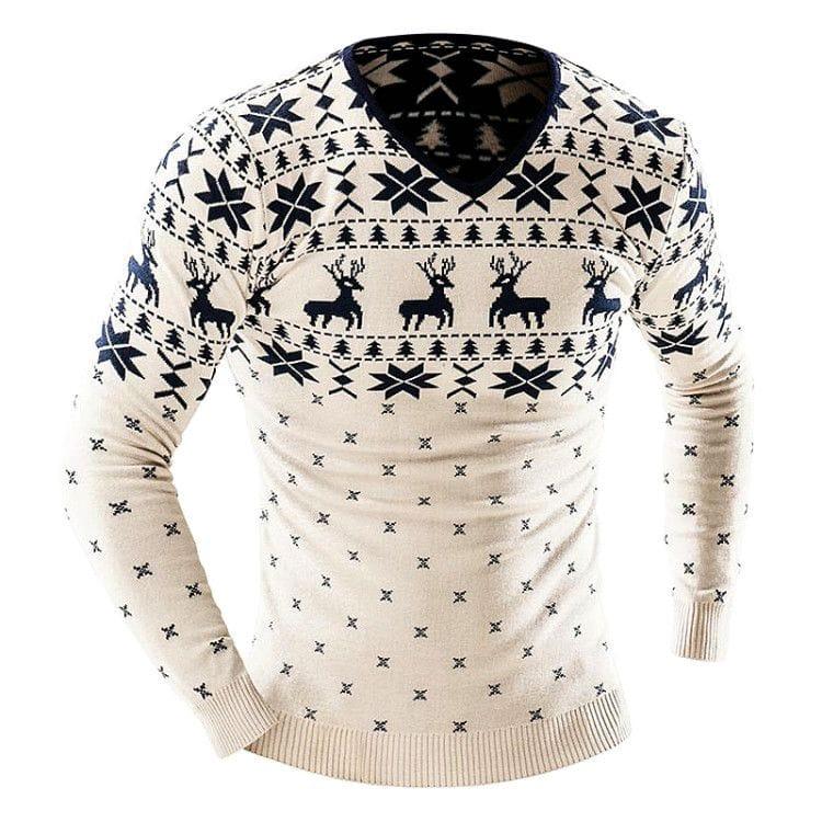 Белый свитер в скандинавском стиле с темным принтом в виде оленей - эффектное, но сдержанное по дизайну решение для офиса