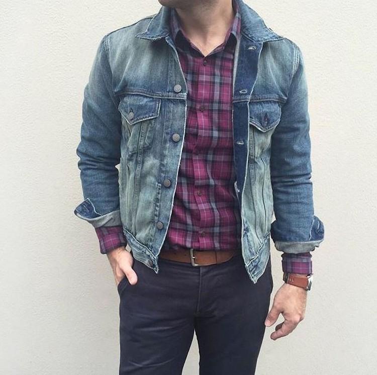 Как видите, рубашка, надетая под джинсовую куртку, смотрится стильно