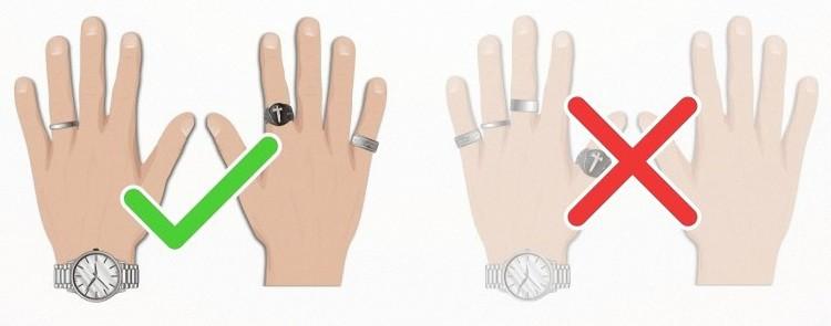 Сохраняйте баланс колец с другими аксессуарами на руке
