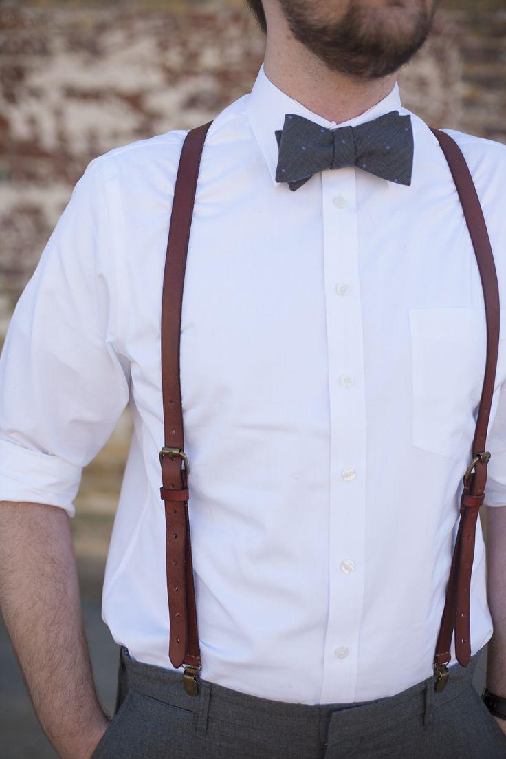 Кожаные мужские подтяжки с костюмом - вечная классика для торжественных моментов