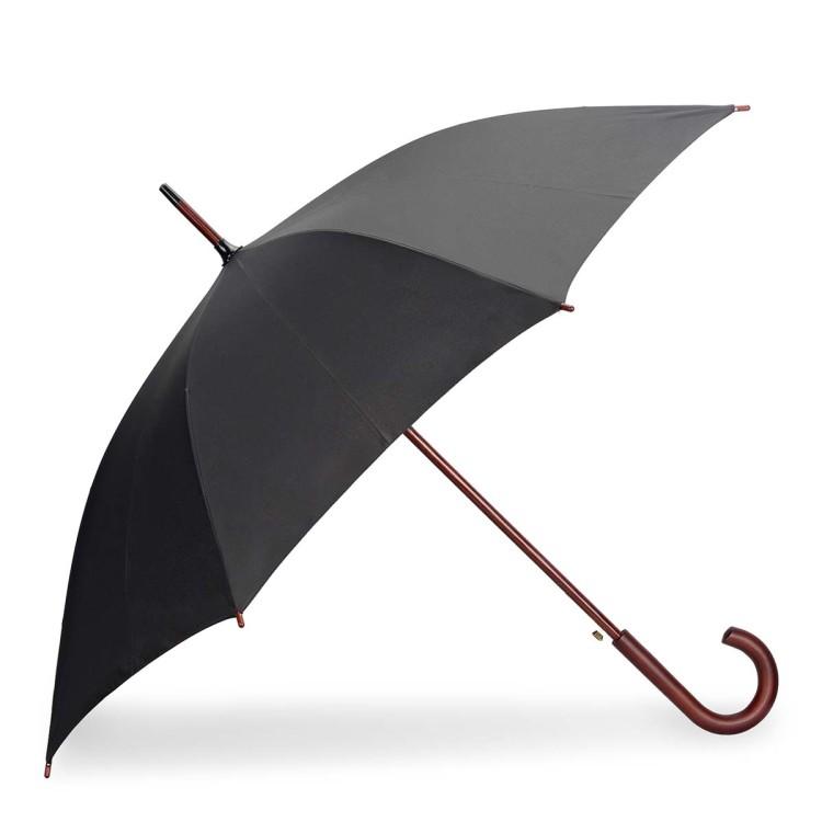 Зонт-трость состоит из трех частей – каркас со спицами, стержень и рукоять